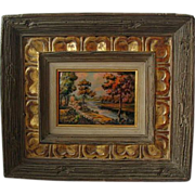 Vintage Limoges Enamel on Copper Plaque Signed & Framed