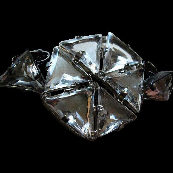 Art Deco Czech Clear Glass Clasp & Earrings