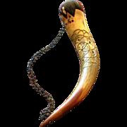 Vintage Hand Carved Folk Art Horn Pin Cushion