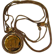 Isle of Man Gold Coin Pendant w/ Chain
