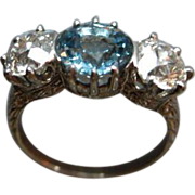 Edwardian Era Platinum Diamond & Topaz Ring