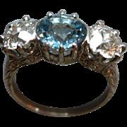 Edwardian Era Platinum Diamond & Topaz Ring