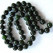 Vintage  Deep Green  Nephrite Jade Necklace