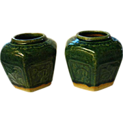 Vintage Chinese Hexagonal Green Glaze Ginger Jars