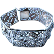 Vintage 835 Silver Filigree Panel Bracelet