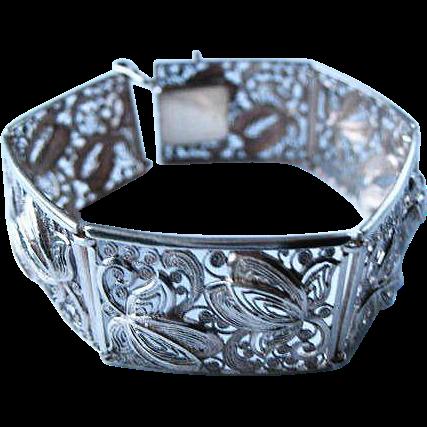 Vintage 835 Silver Filigree Panel Bracelet