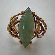 Vintage Large Jade & 14K Gold Ring