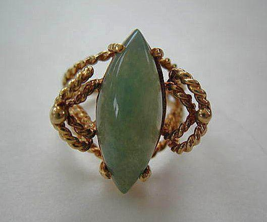Vintage Large Jade & 14K Gold Ring