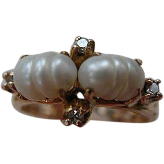 Vintage Handcrafted 10K Gold & Pearl Ring