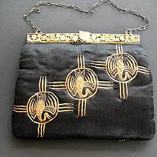 Vintage Chinese Embroidered Silk Purse