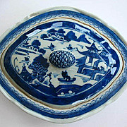 Chinese Export Blue Canton Ware Covered Dish