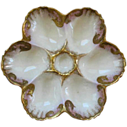Vintage French Porcelain Oyster Plate w/Heavy Gilt