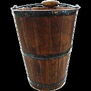 Marvelous Oak Wood Farm Bucket w/Bail & Wood Handle