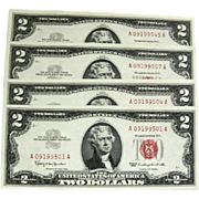 Four Series 1963 Uncirculated  Red Seal $2 Notes