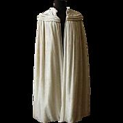 Vintage Ivory Silk Velvet Evening Cape / Circa 1920's