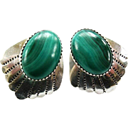 Large Southwestern Sterling Silver & Malachite Post Earrings