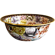 Large Vintage Chinese Cloisonne & Bronze Bowl
