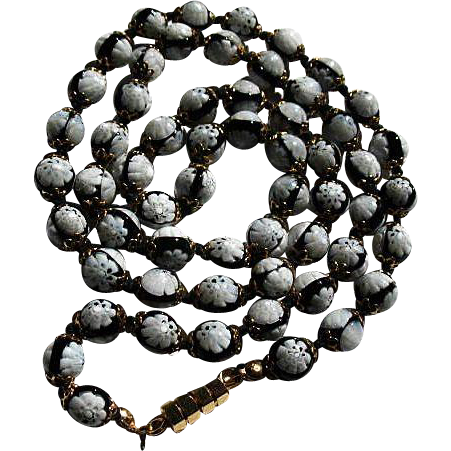 Vintage Venetian Art Glass Small Bead Necklace