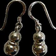 Sterling Silver Double Ball Drop Earrings