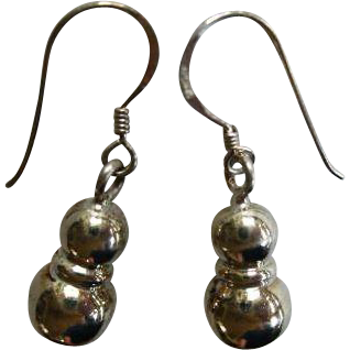 Sterling Silver Double Ball Drop Earrings