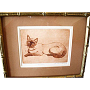 A Framed Numbered Print of A Siamese Cat