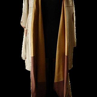 Magnificent Hand Sewn Tan Kimono With Copper Gold & Silver Peacock Embroidered Design