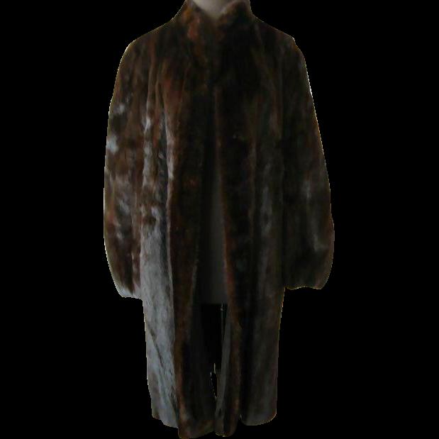 Sumptuous Dark Brown/Black Mink Full Length Coat - Large Size