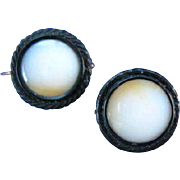 Beautiful Pair of Victorian Agate & Enamel Pins