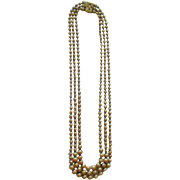 Three Strand Graduated Brass Bead Necklace Art Deco Period