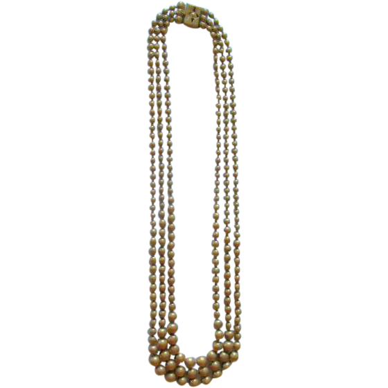 Three Strand Graduated Brass Bead Necklace Art Deco Period