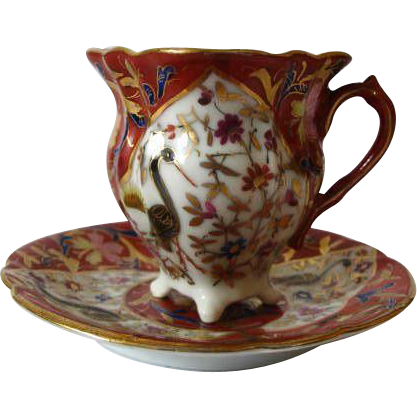 Footed Hand Painted Porcelain Demitasse Cup & Saucer