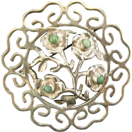 Vintage Mexican Sterling Silver & Turquoise Flower Brooch