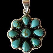 Sterling Silver & Turquoise Pinwheel Pendant