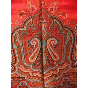 Antique Woven Wool Paisley Shawl W/ Fringe