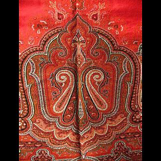Antique Woven Wool Paisley Shawl W/ Fringe