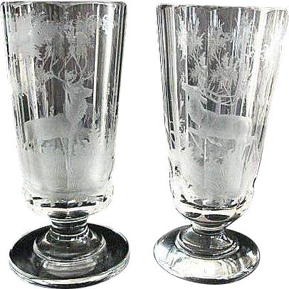 American Brilliant Etched Glass Goblets
