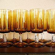 Set of Eight Hand Blown Amber Wine Glasses W/ Air Twist Stem