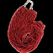 Deep Coral Color Glass Seed Bead Torsade
