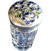 Cut Glass Vanity Jar w/ Enameled Sterling Silver Top