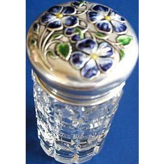 Cut Glass Vanity Jar w/ Enameled Sterling Silver Top