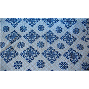 Vintage Blue Cross Stitched Quilt Top Coverlet