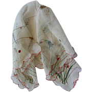 Gorgeous Vintage Hand Painted Silk Handkerchief