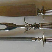 Beautiful Vintage Sterling Silver Handle Three Piece Carving Set