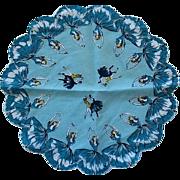 Vintage Ballerina Round Scalloped Edge Handkerchief