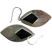 Vintage Navajo Sterling Silver & Onyx Earrings