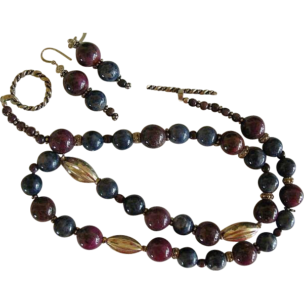Natural Uncut  Ruby & Sapphire Tanzanite Necklace & Earrings w/ Bali Silver Accents