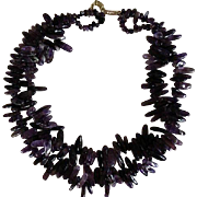 Double Strand Natuural Amethyst Polished Nugget Necklace