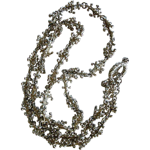 3 Dimensional Sterling Silver Link Chain / Bali, Indonesia