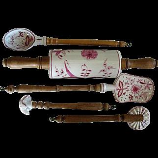 Vintage German Made Porcelain & Wood Cooking Utensils