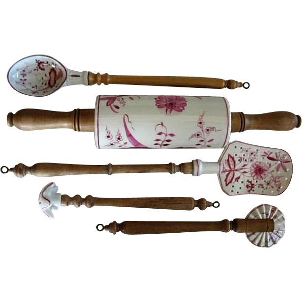 German Kitchen Tools: Vintage German Made Porcelain & Wood Cooking Utensils From